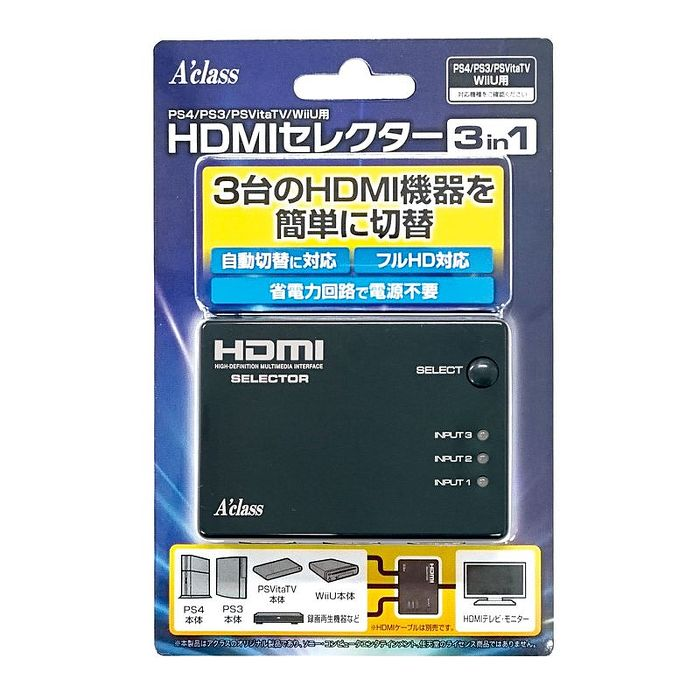 PS4/PS3/WIIU/XBOX/PSVTV 通用 日本Aclass 簡單切換 3孔HDMI 切換器 分接器 轉接器 自動切換 不需電源