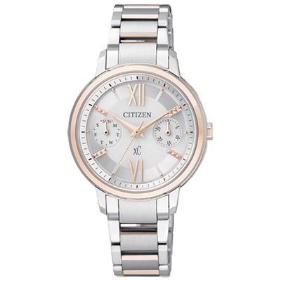《CITIZEN》xC 愛戀情緣雙環時尚腕錶FD1014-52A-玫瑰金框/31mm