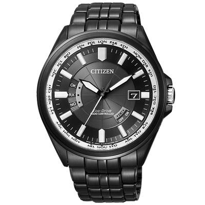 《CITIZEN》Eco-Drive 黑暗世界電波時尚腕錶CB0014-52E-IP黑/43mm