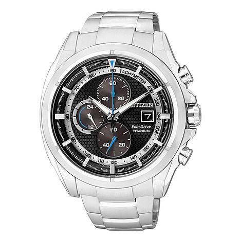 【CITIZEN】 一級方程式 鈦金屬光能三眼計時腕錶-黑x銀 (CA0551-50E)