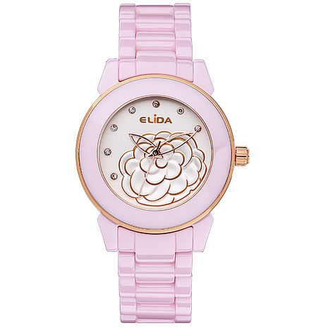 【ELIDA】優雅山茶花時尚腕錶-粉/34mm(EA2923B-P)