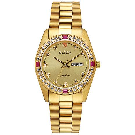 【ELIDA】蠔式晶鑽 經典指針時尚腕錶-金(EA2900-1DM-KK)