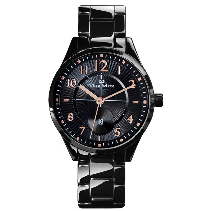 MAX MAX 黑色派對陶瓷腕表-黑X玫瑰金-MAS7006-2 ( 小款35mm)