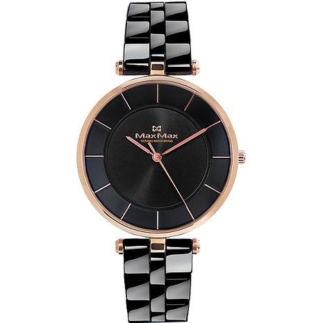 【Max Max】簡約知性 時尚典雅陶瓷腕錶-40mm/黑(MAS5132-1)