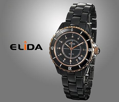 《ELIDA》 氣質經典設計陶瓷腕錶 (黑/女錶)-服飾‧鞋包‧內著‧手錶-myfone購物