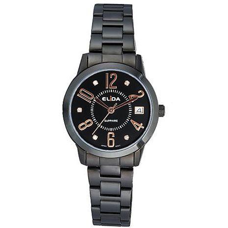 《ELIDA》 知性名媛晶鑽時尚腕錶EA2895L-BB (黑金/32mm)
