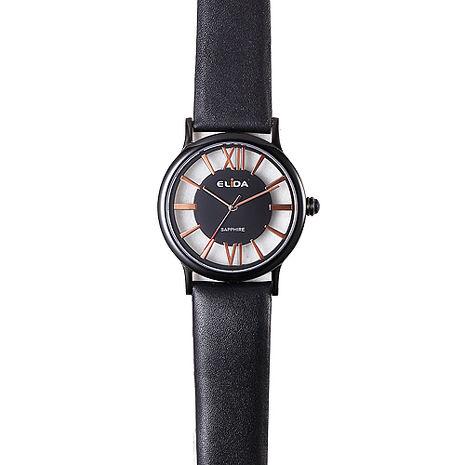 《ELIDA》羅馬假期鏤空時尚腕錶EA2910LB-BG-黑金/34mm