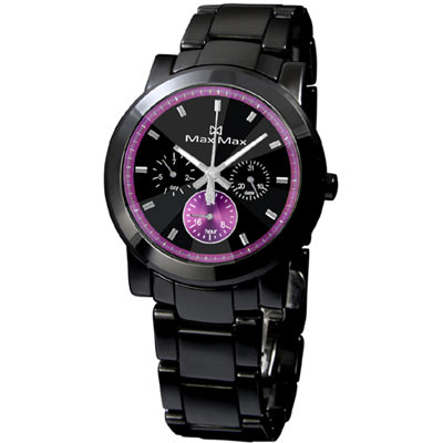 《MAX MAX》 璀璨獨特三眼全日曆陶瓷腕錶MAS50803J-B1-IP黑X紫/38mm