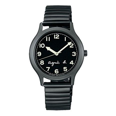 《agnes b.》25周年紀念 時尚簡約定番腕錶-黑x灰/34mm (VJ21-KR00D/BH8018X1)