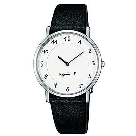 【agnes b.】簡約手繪刻度 時尚皮帶腕錶-黑x白(BG4001P1/7N00-0BC0S)