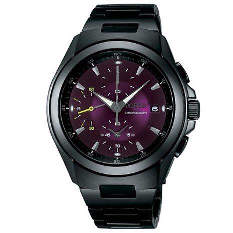 【ALBA】 WIRED 競技爵士 時尚三眼計時腕錶-黑/紫/41mm (7T92-X221T/AF8Q19X)
