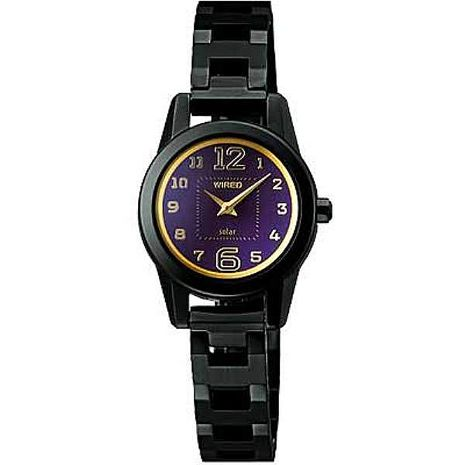 【ALBA】 WIRED 搖滾甜心 時尚數字指針女腕錶-黑/23mm (V110-X005T/ACD003X)