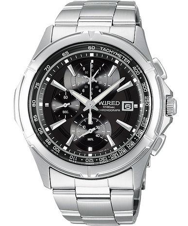 【ALBA】WIRED 極限玩家三眼計時腕錶-黑 (7T82-X002D/AQ8007X)