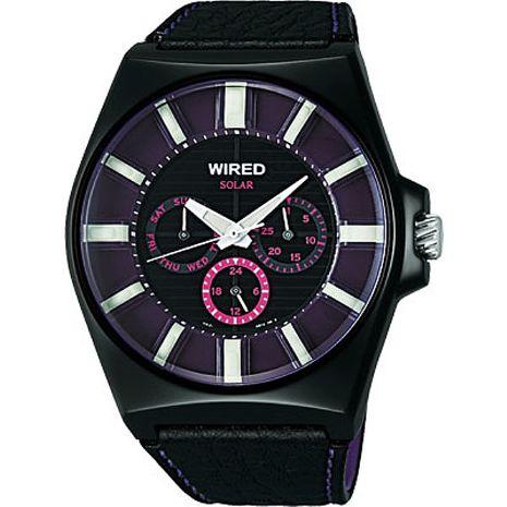 【ALBA】WIRED HYBRID 潮流炫紫 時尚科技太陽能腕錶 (V14J-X005T/AUB033X)