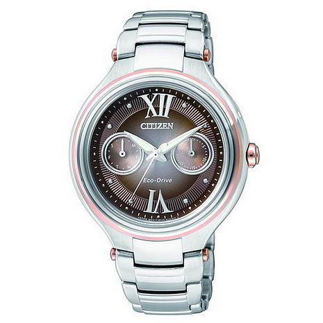 【CITIZEN】L系列光動能 金屬質感雙色女錶(FD4007-51W)