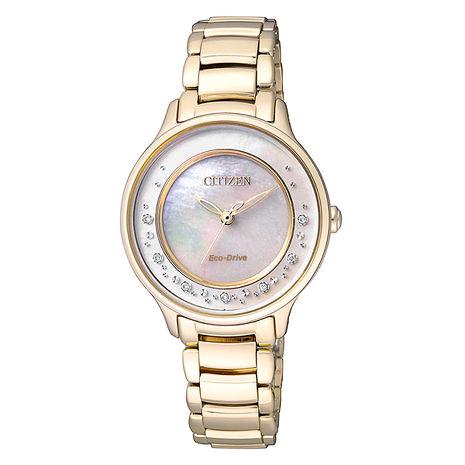 【CITIZEN 星辰】L 閃耀水波 光動能柔美鑽石時尚腕錶-35mm/金(EM0382-51D)