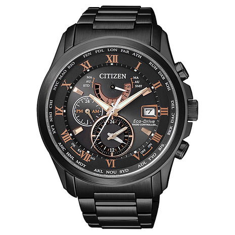 【CITIZEN星辰】雅爵品味 光動能電波三眼計時腕錶-黑/金字/43mm(AT9085-53E)
