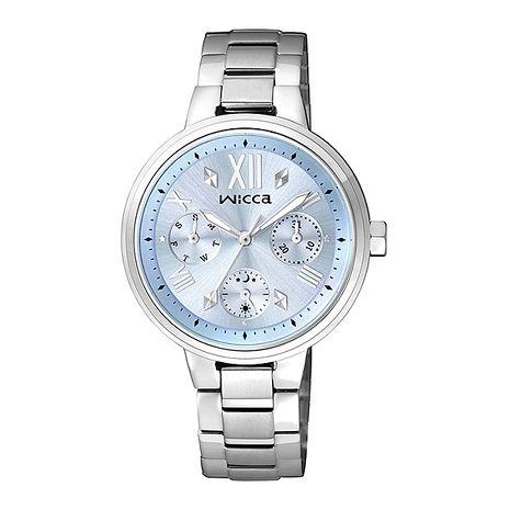 【CITIZEN星辰】wicca 率性甜美 粉彩三眼時尚腕錶-藍/34mm (BH7-512-71)