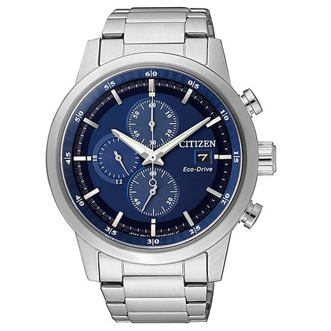 【CITIZEN星辰】Eco-Drive光動能 時尚簡約三眼計時腕錶-銀藍/43mm (CA0610-52L)