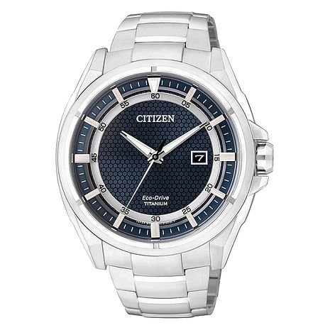 【CITIZEN星辰】超級鈦 科技風潮光動能商務時尚腕錶-銀/藍 (AW1401-50L)