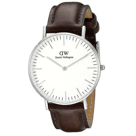 【Daniel Wellington/DW】Classic Bristol 典雅紳士 時尚真皮腕錶-棕/銀/40mm (0209DW)