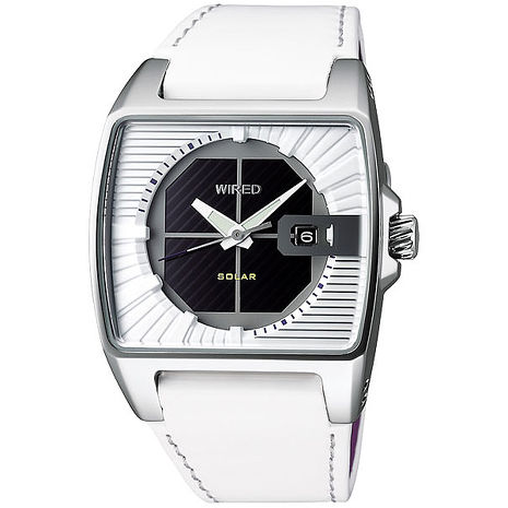 【ALBA】WIRED 純真白日系條紋太陽能潮流腕錶 V145-X013Z / AUA007X