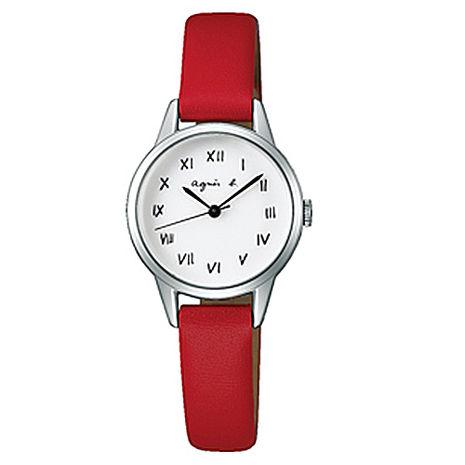 【agnes b.】復古手繪羅馬字體皮革女腕錶-25mm/白紅 (VJ21-KT60R/BH8024X1)