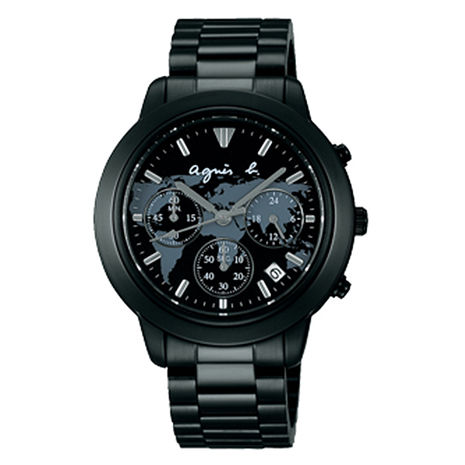 【agnes b.】經典世界地圖 時尚三眼計時腕錶-黑x銀 (VD53-KQ00N/BT3023X1)