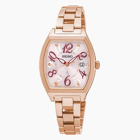 【SEIKO精工】LUKIA 繽紛優雅酒桶型鋼帶女腕錶-粉x玫瑰金(V137-0CE0K/SUT288J1)