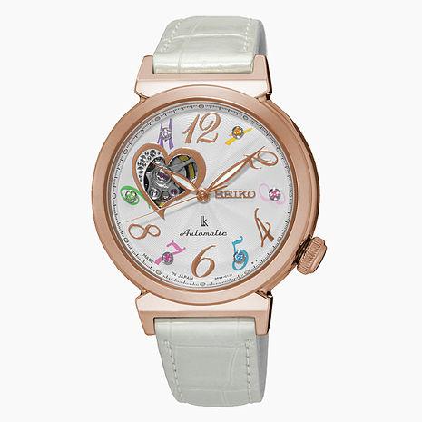 【SEIKO精工】LUKIA 限量款閃耀之心寶石皮帶女腕錶-銀x白(4R38-01D0S/SSA840J1)