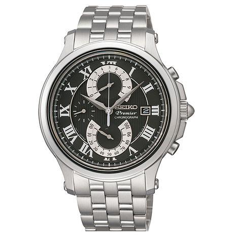 【SEIKO 精工】Spirit 俐落感太陽能多功能腕錶-黑x深藍(V198-0AC0P/SBPJ017J)
