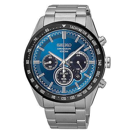 【SEIKO 精工】Criteria 精簡霸氣三眼太陽能鋼帶腕錶-銀x藍(V175-0DK0B/SSC465P1)