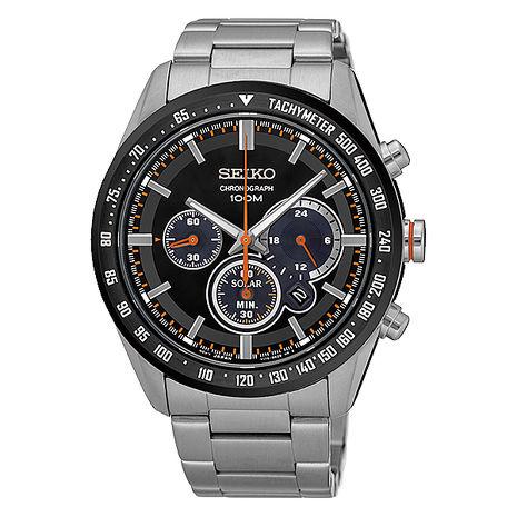 【SEIKO 精工】Criteria 精簡霸氣三眼太陽能鋼帶腕錶-銀x黑(V175-0DK0R/SSC463P1)