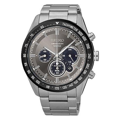 【SEIKO 精工】Criteria 精簡霸氣三眼太陽能鋼帶腕錶-銀x灰(V175-0DK0G/SSC467P1)