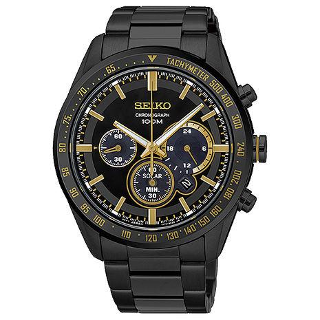 【SEIKO 精工】Criteria 精簡霸氣三眼太陽能鋼帶腕錶-黑x金(V175-0DL0K/SSC473P1)