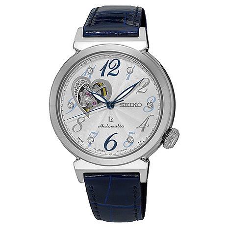 【SEIKO精工】LUKIA 閃耀之心寶石皮帶女腕錶-銀x藍(4R38-01C0B/SSA843J1)