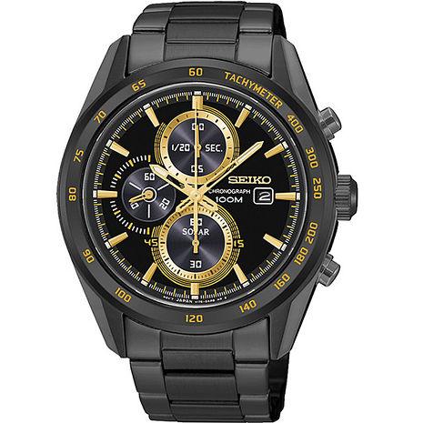 【SEIKO精工】Criteria 太陽能三眼計時腕錶-黑x金(V176-0AL0K/SSC409P1)