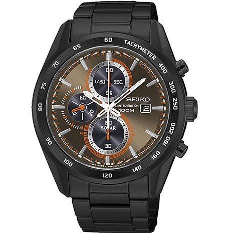 【SEIKO 精工】極速有型 太陽能三眼計時腕錶-黑x古銅(V176-0AP0B/SSC415P1)