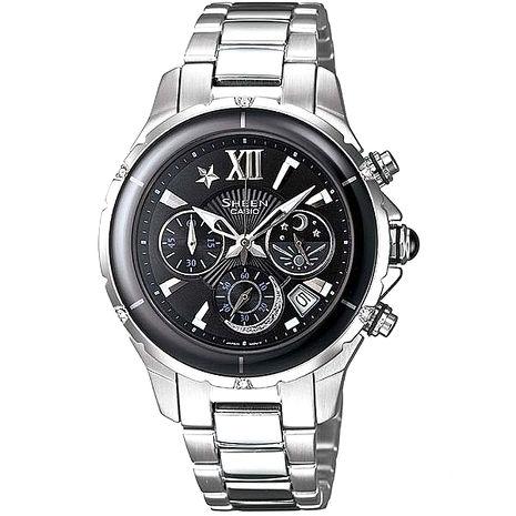 【CASIO 卡西歐】SHEEN 耀眼星空 甜美陶瓷錶圈腕錶-黑/鋼帶-SHE-5512D-1A