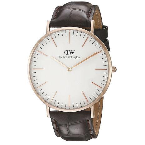 【Daniel Wellington/DW】Classic York 典雅紳士 時尚真皮腕錶-黑/金/40mm (0111DW)
