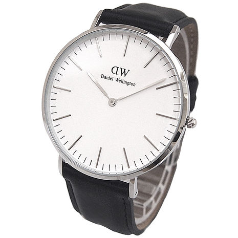 【Daniel Wellington/DW】Classic Sheffield 紳士風範 典雅時尚腕錶-黑x銀/40mm (0206DW)