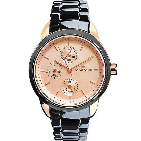 【MAX MAX】時尚經典黑金配色陶瓷中性錶 (MAS7003S-12)