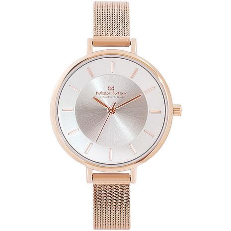 【MAX MAX】簡約時尚金屬質感不銹鋼中性腕錶-玫瑰金 (MAS7015-2)