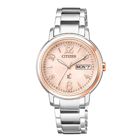 【CITIZEN星辰】亞洲限定XC 甜美知性光動能計時女用腕錶-玫瑰金(EW2422-55A)