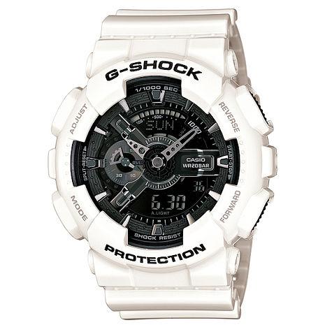 【CASIO】G-SHOCK炫白多層次美學機械感運動錶GA-110GW-7A
