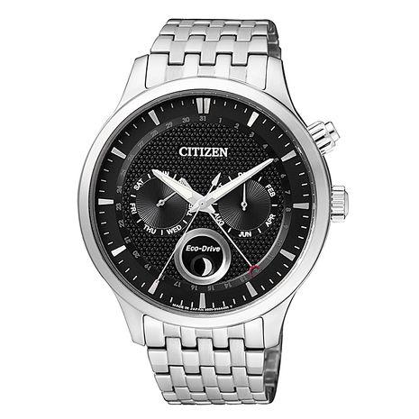 【CITIZEN星辰】Eco-Drive簡約時尚兩眼光動能月相鋼帶腕錶-黑色AP1050-56E