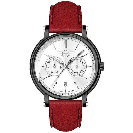 【MINI Swiss Watches】簡約英倫風範兩眼計時腕錶-白(MINI-160630)-APP限定