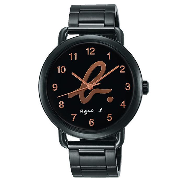 【agnes b.】經典LOGO海外市場限定時尚對錶-金/40mmVJ21-KX30SD/BH8040X1