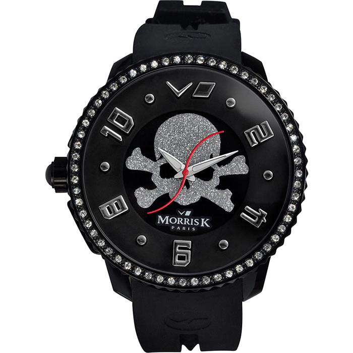 《MORRIS K》 骷顱頭 S指針晶鑽休閒錶MK13065-CA03-黑銀/50mm