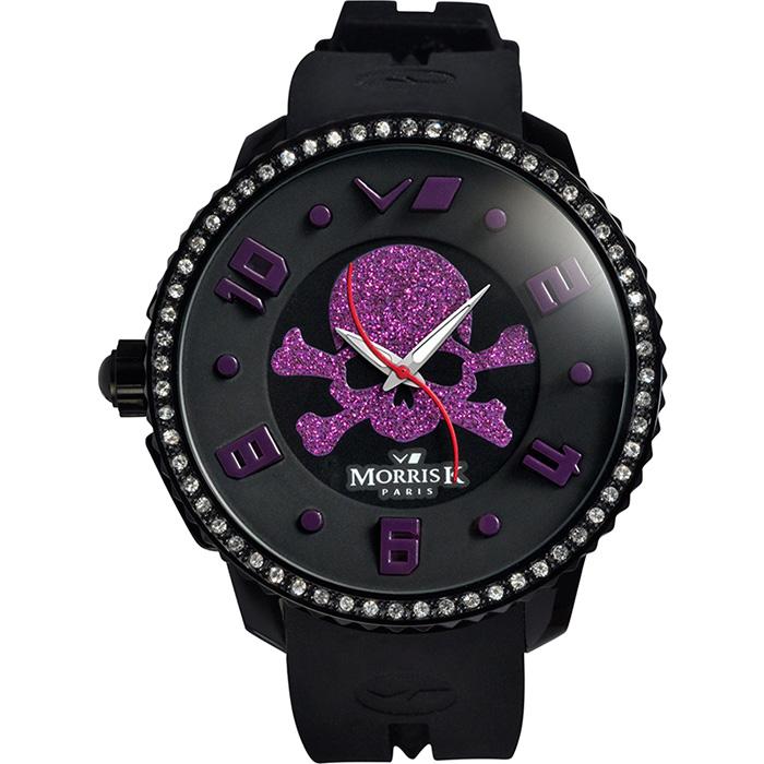 《MORRIS K》骷顱頭 S指針晶鑽休閒錶MK13065-UB03-黑紫/50mm